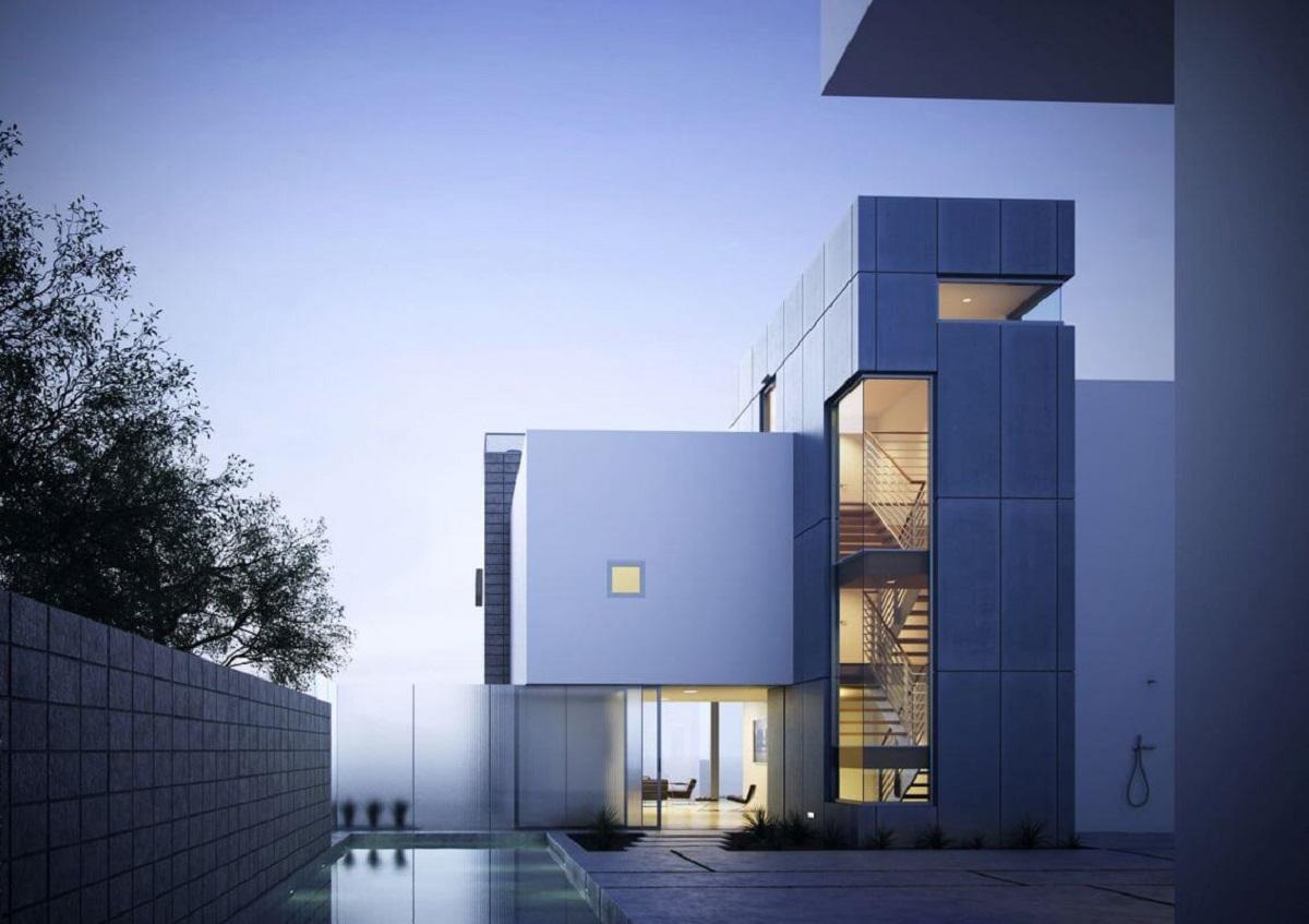 Modernistyczne budynki. Metal, szkło, drewno i beton architektoniczny